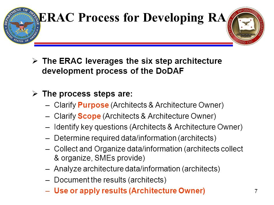 ERAC Process for Developing RA