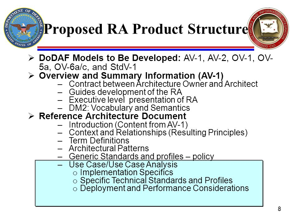 Proposed RA Product Structure