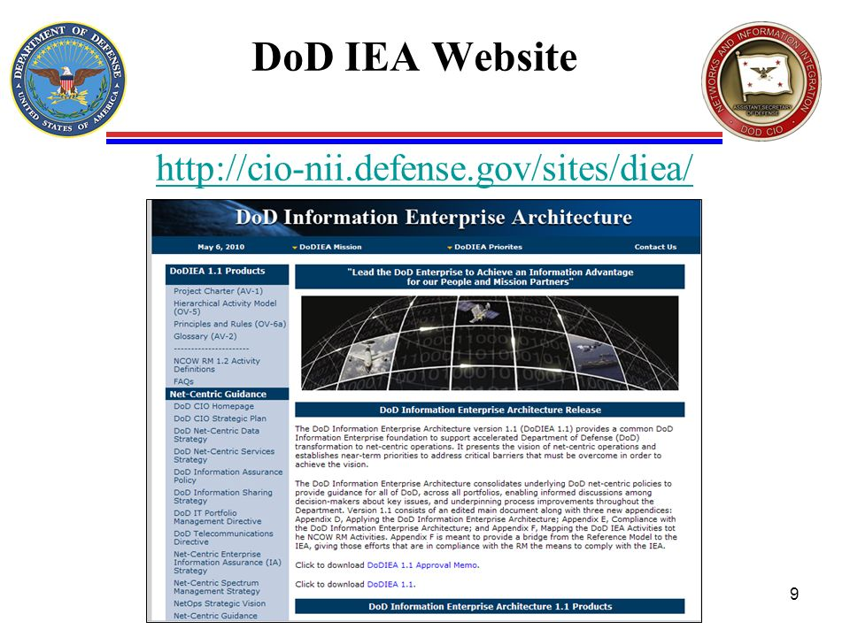 DoD IEA Website http://cio-nii.defense.gov/sites/diea/