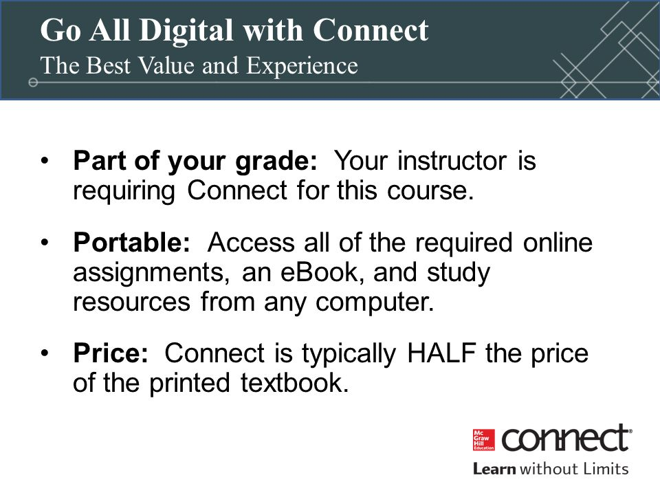 Mcgraw hill connect first day of class ppt video online download go all digital with connect the best value and experience fandeluxe Image collections