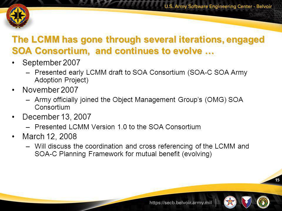 The LCMM has gone through several iterations, engaged SOA Consortium, and continues to evolve …