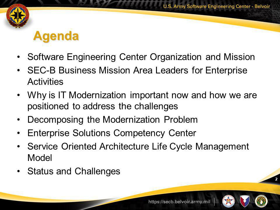Agenda Software Engineering Center Organization and Mission