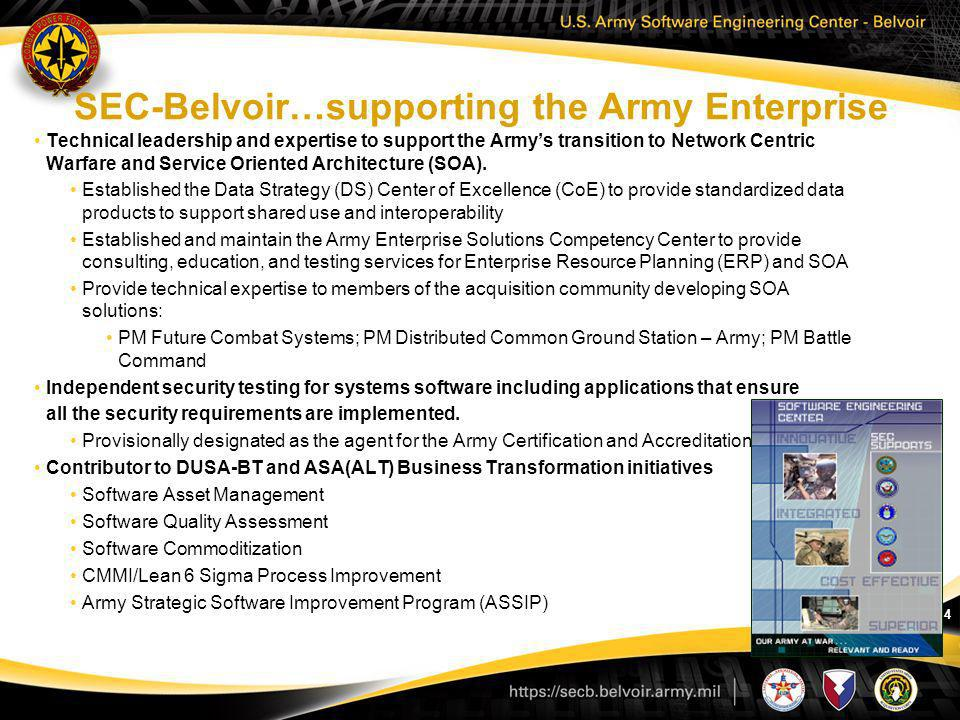 SEC-Belvoir…supporting the Army Enterprise