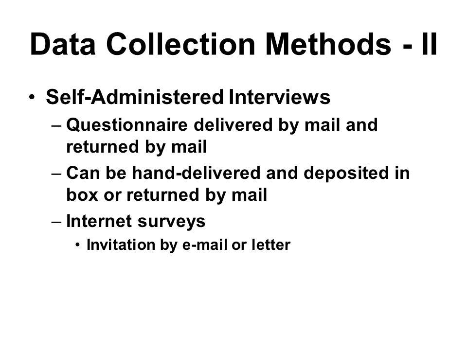 Data Collection Methods - II