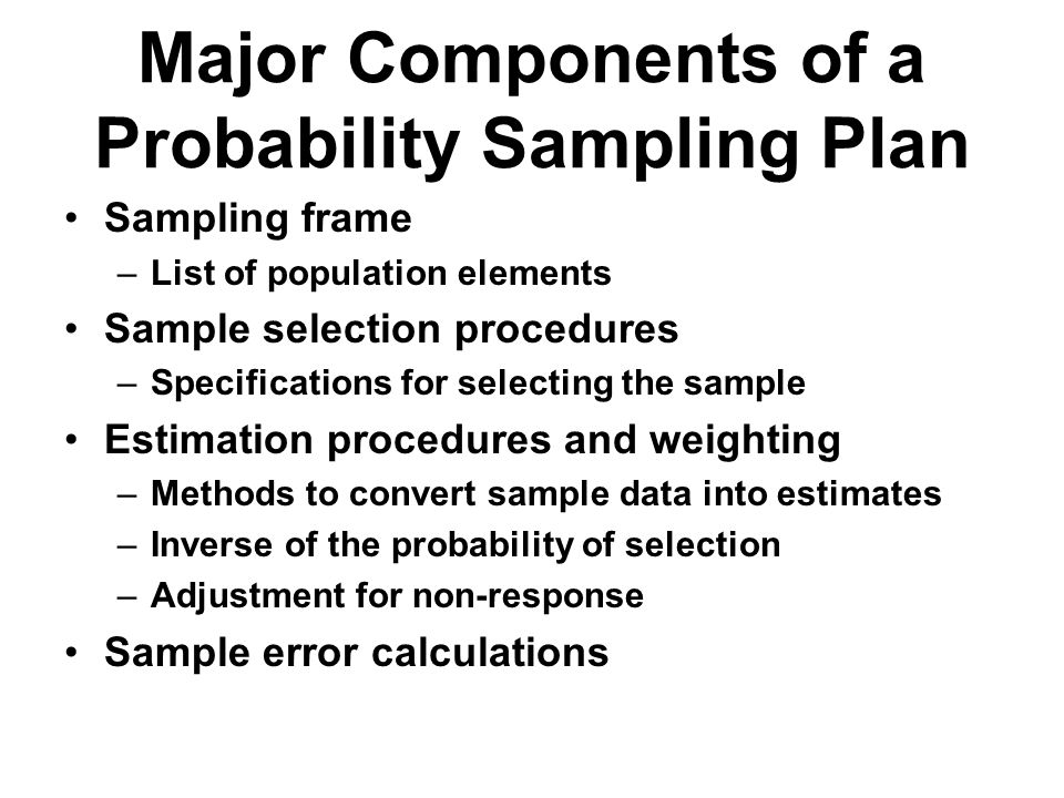 Major Components of a Probability Sampling Plan