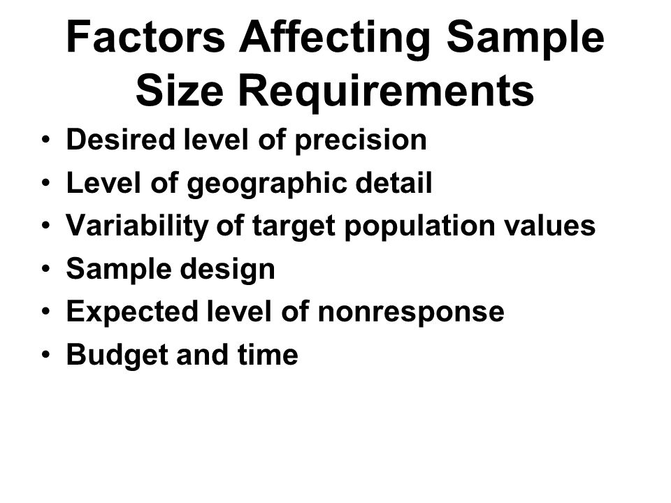 Factors Affecting Sample Size Requirements