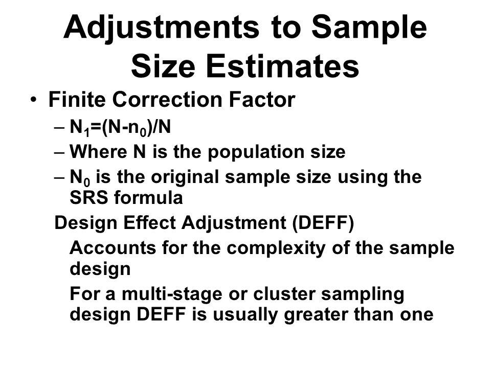 Adjustments to Sample Size Estimates
