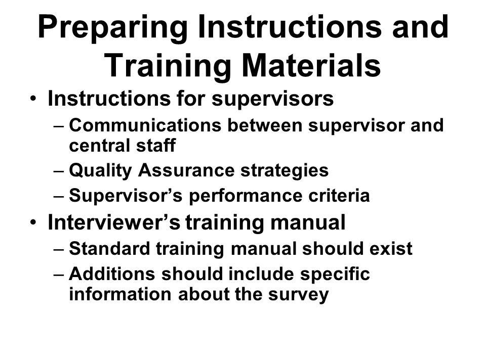 Preparing Instructions and Training Materials