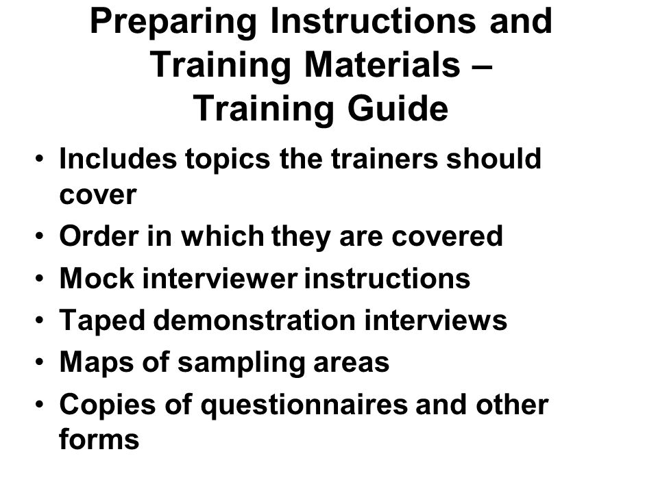 Preparing Instructions and Training Materials – Training Guide