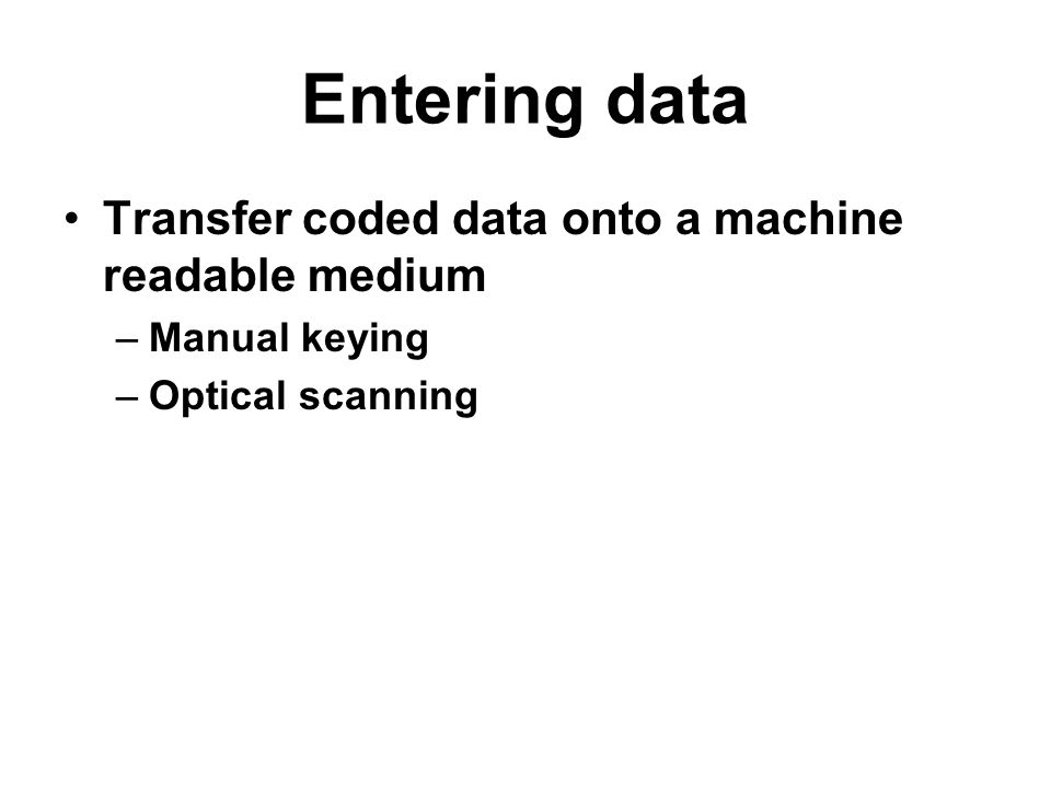 Entering data Transfer coded data onto a machine readable medium