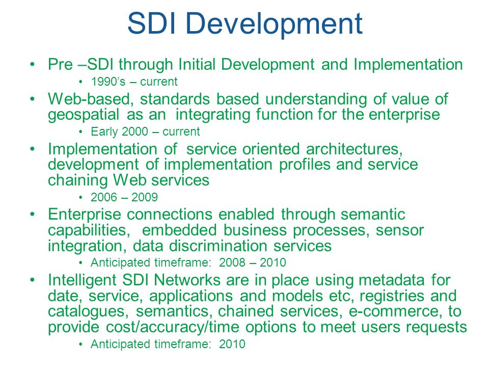 SDI Development Pre –SDI through Initial Development and Implementation. 1990's – current.