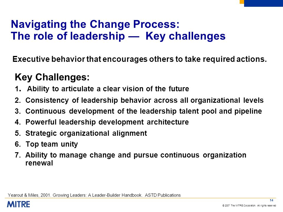 Navigating the Change Process: The role of leadership — Key challenges