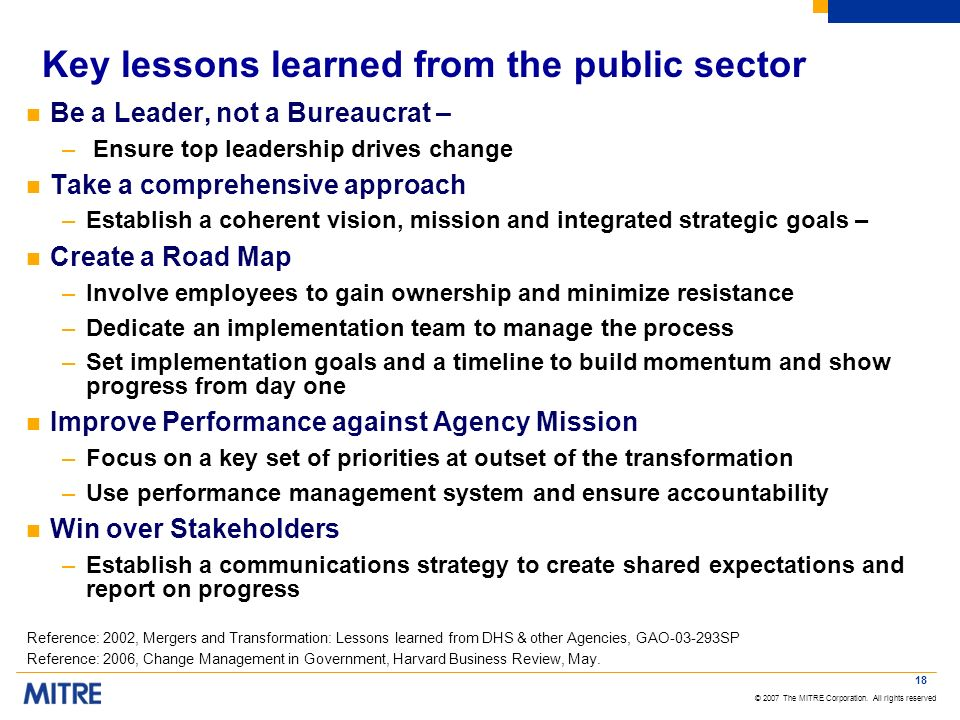 Key lessons learned from the public sector