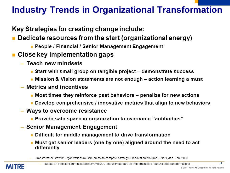 Industry Trends in Organizational Transformation