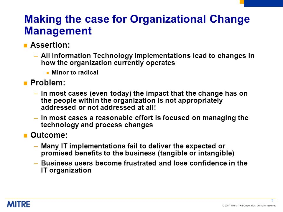 Making the case for Organizational Change Management