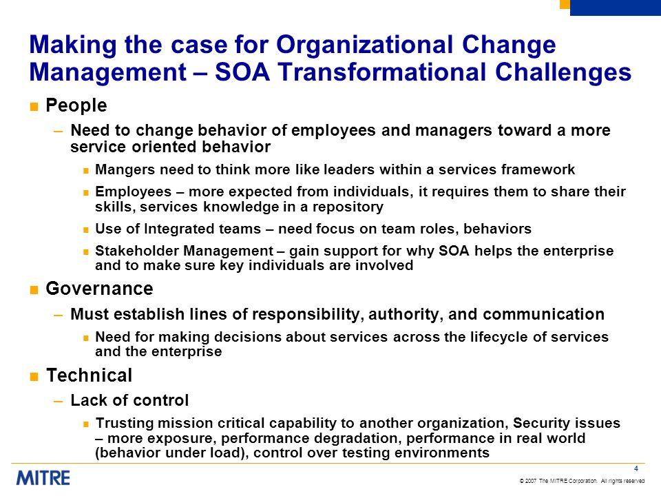 Making the case for Organizational Change Management – SOA Transformational Challenges