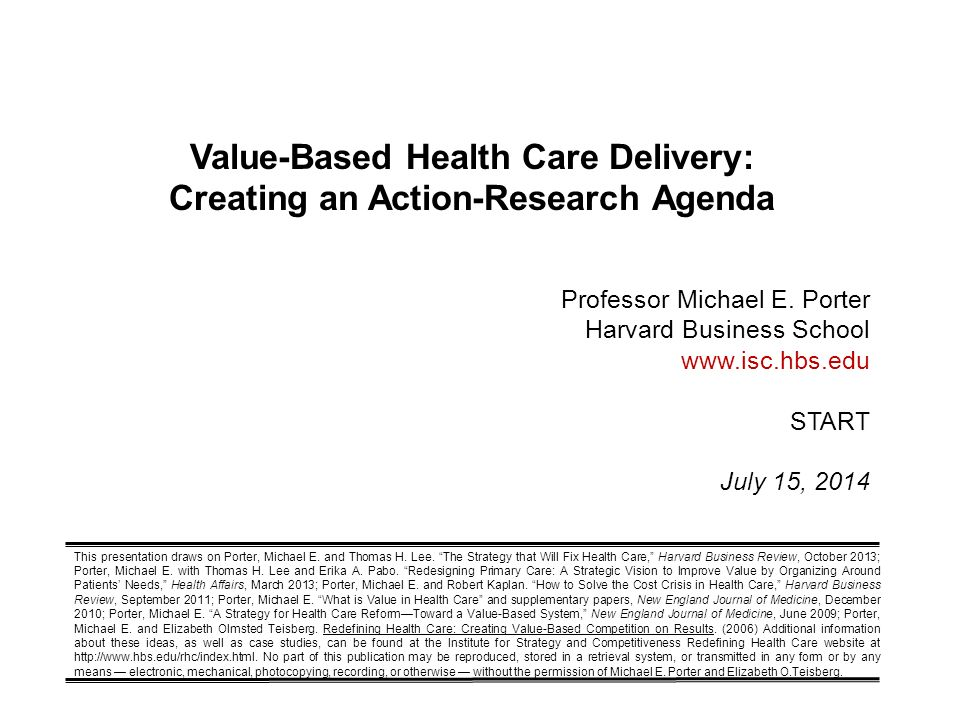 Value-Based Health Care Delivery: Creating An Action-Research