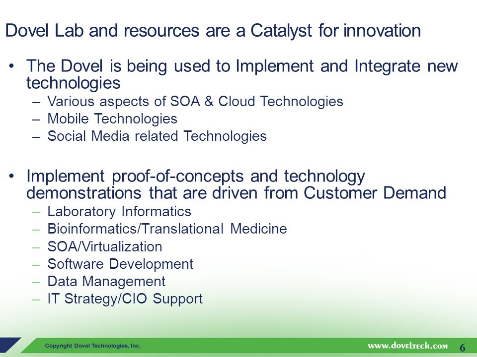 Dovel Lab and resources are a Catalyst for innovation