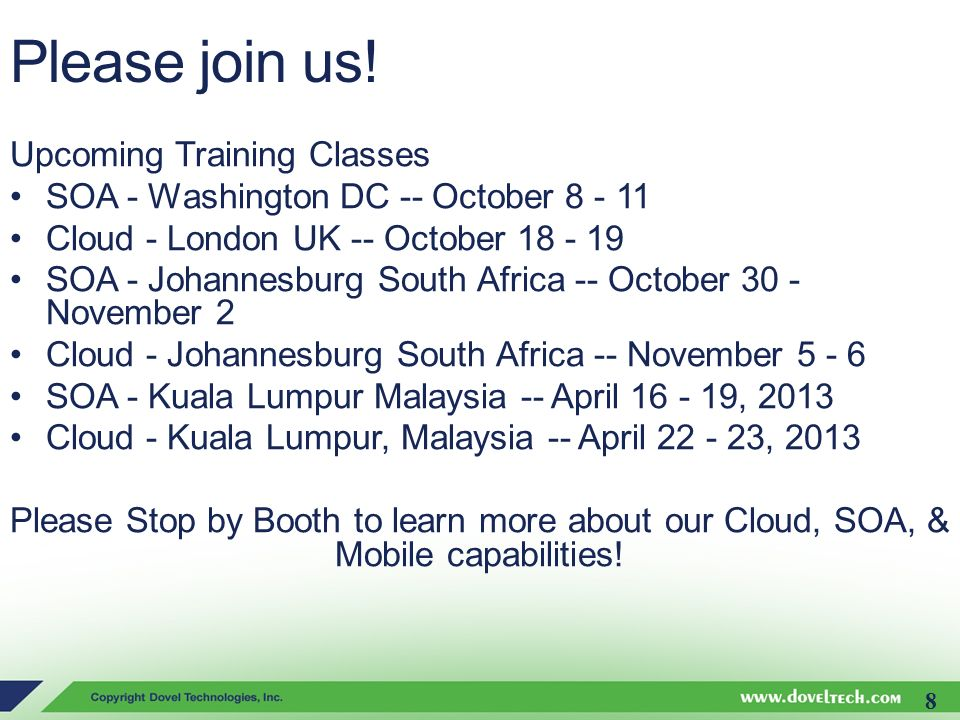 Please join us! Upcoming Training Classes
