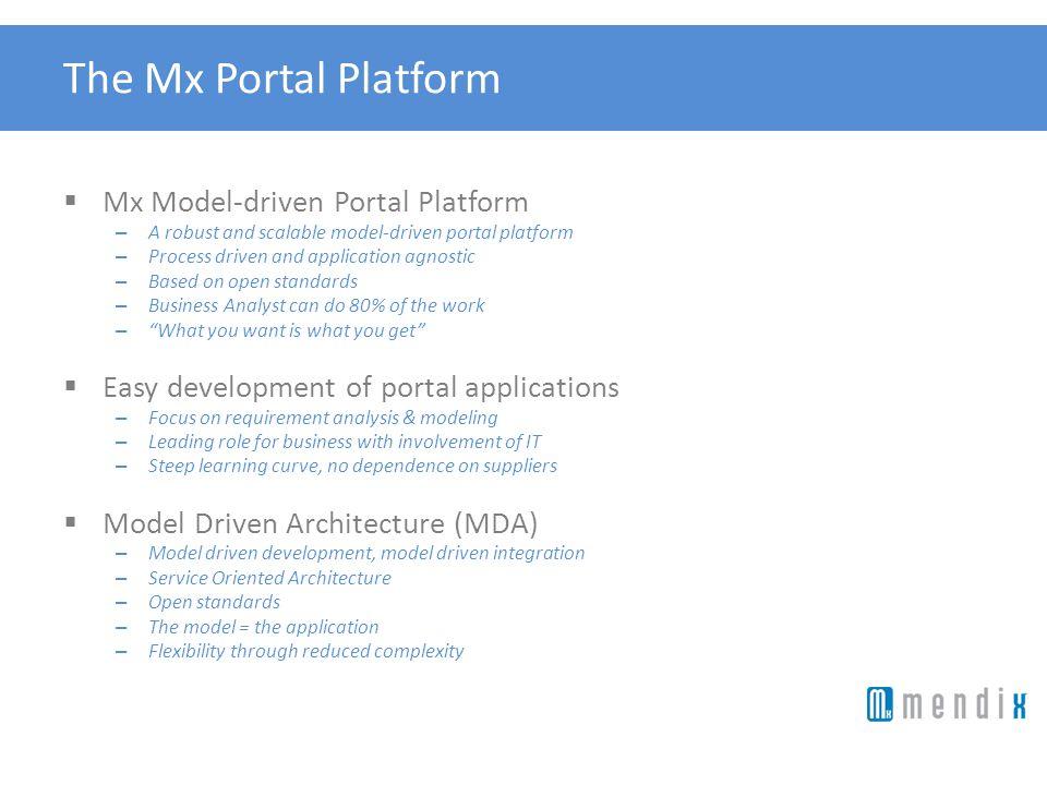 The Mx Portal Platform Mx Model-driven Portal Platform