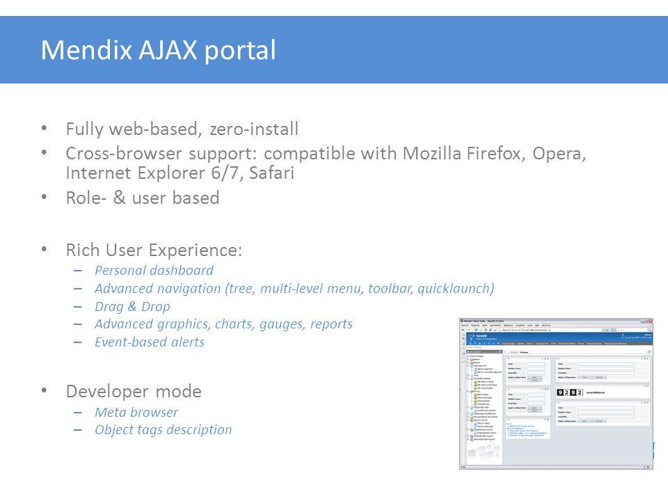 Mendix AJAX portal Fully web-based, zero-install
