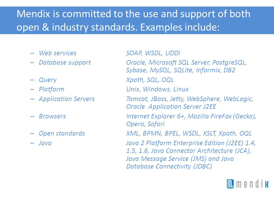 Mendix is committed to the use and support of both open & industry standards. Examples include: