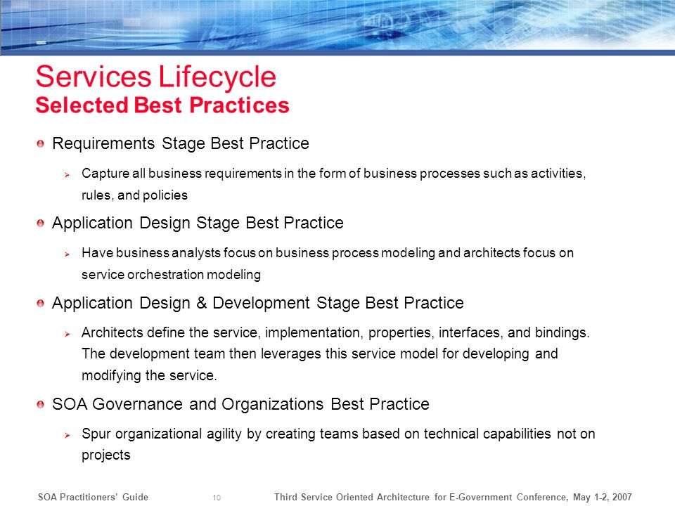 Services Lifecycle Selected Best Practices