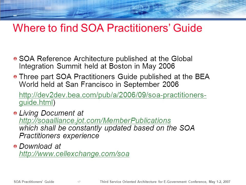 Where to find SOA Practitioners' Guide