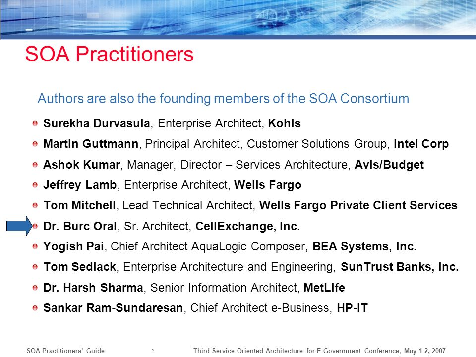 SOA Practitioners Authors are also the founding members of the SOA Consortium. Surekha Durvasula, Enterprise Architect, Kohls.