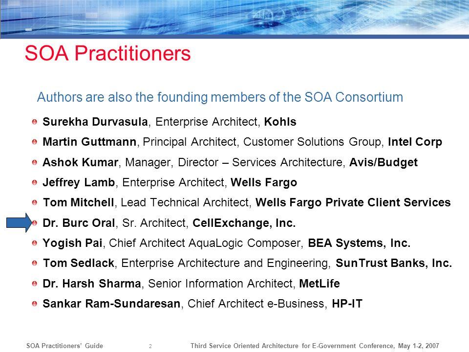 SOA Practitioners Authors are also the founding members of the SOA Consortium. Surekha Durvasula, Enterprise Architect, Kohls.