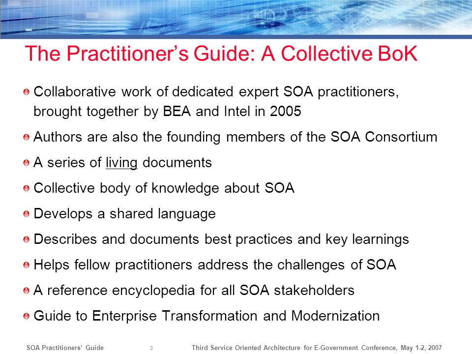 The Practitioner's Guide: A Collective BoK