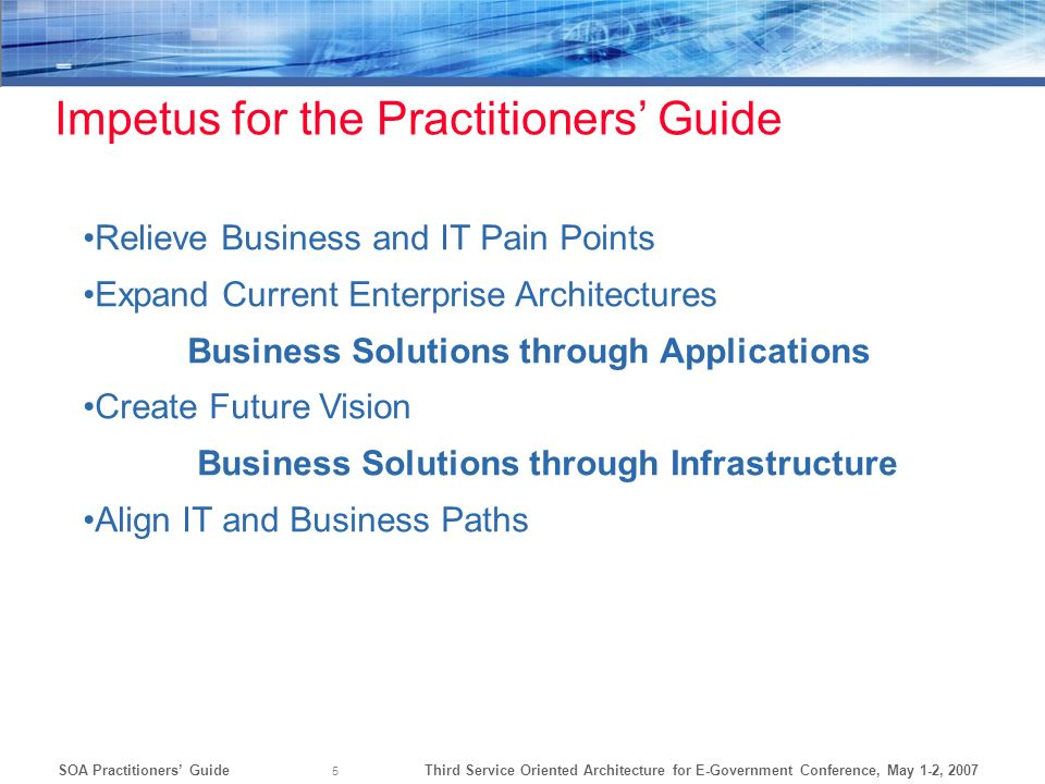 Impetus for the Practitioners' Guide