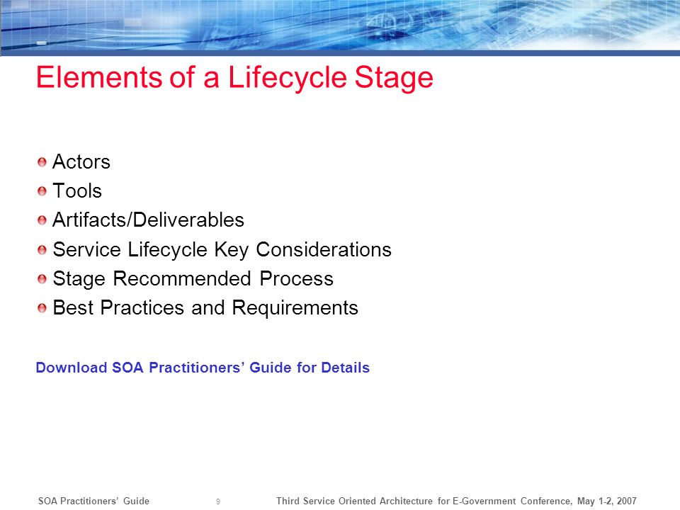 Elements of a Lifecycle Stage
