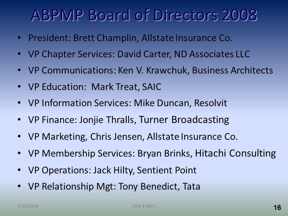 ABPMP Board of Directors 2008