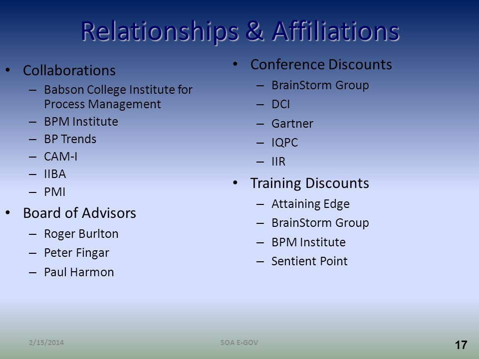 Relationships & Affiliations