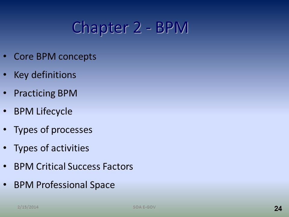 Chapter 2 - BPM Core BPM concepts Key definitions Practicing BPM