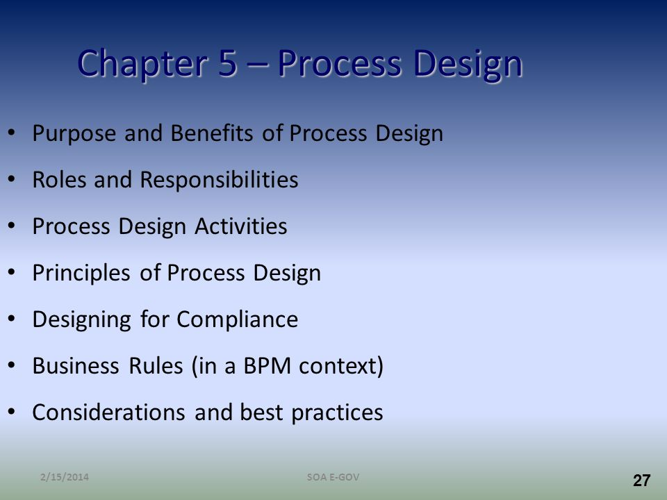 Chapter 5 – Process Design