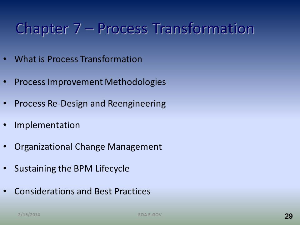 Chapter 7 – Process Transformation