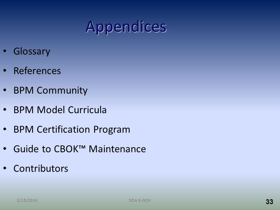 Appendices Glossary References BPM Community BPM Model Curricula