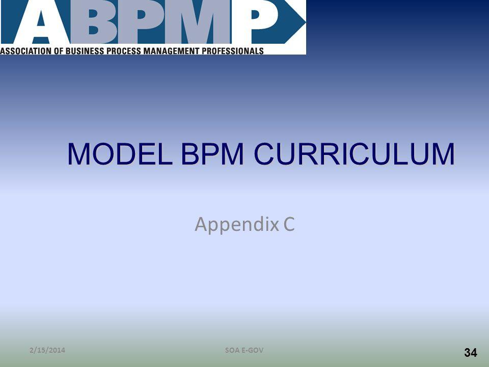 MODEL BPM CURRICULUM Appendix C 3/28/2017 SOA E-GOV