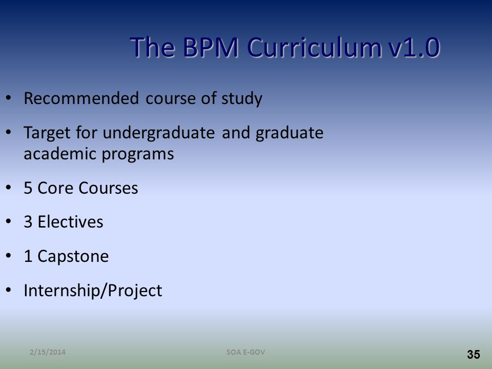 The BPM Curriculum v1.0 Recommended course of study