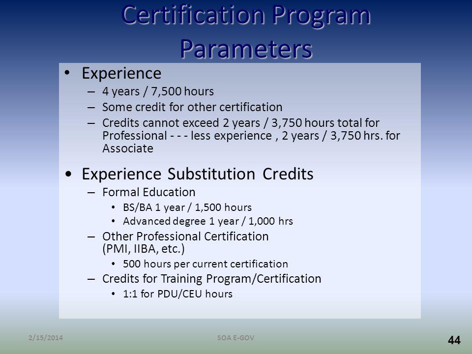 Certification Program Parameters