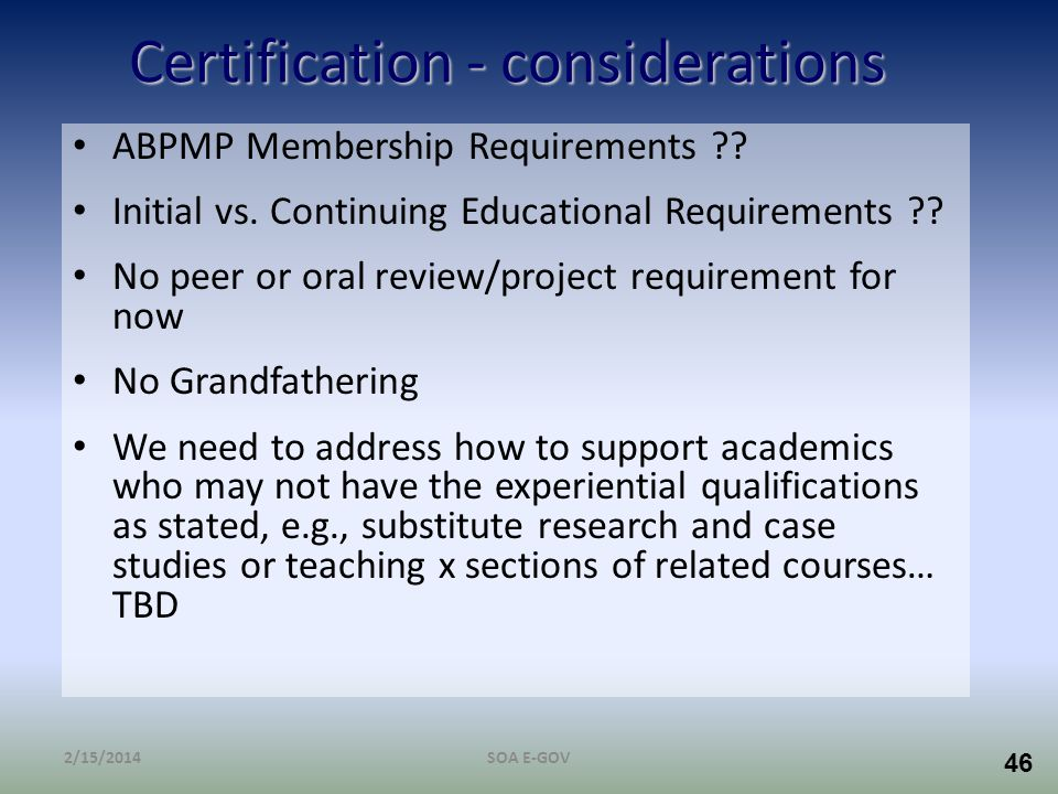 Certification - considerations