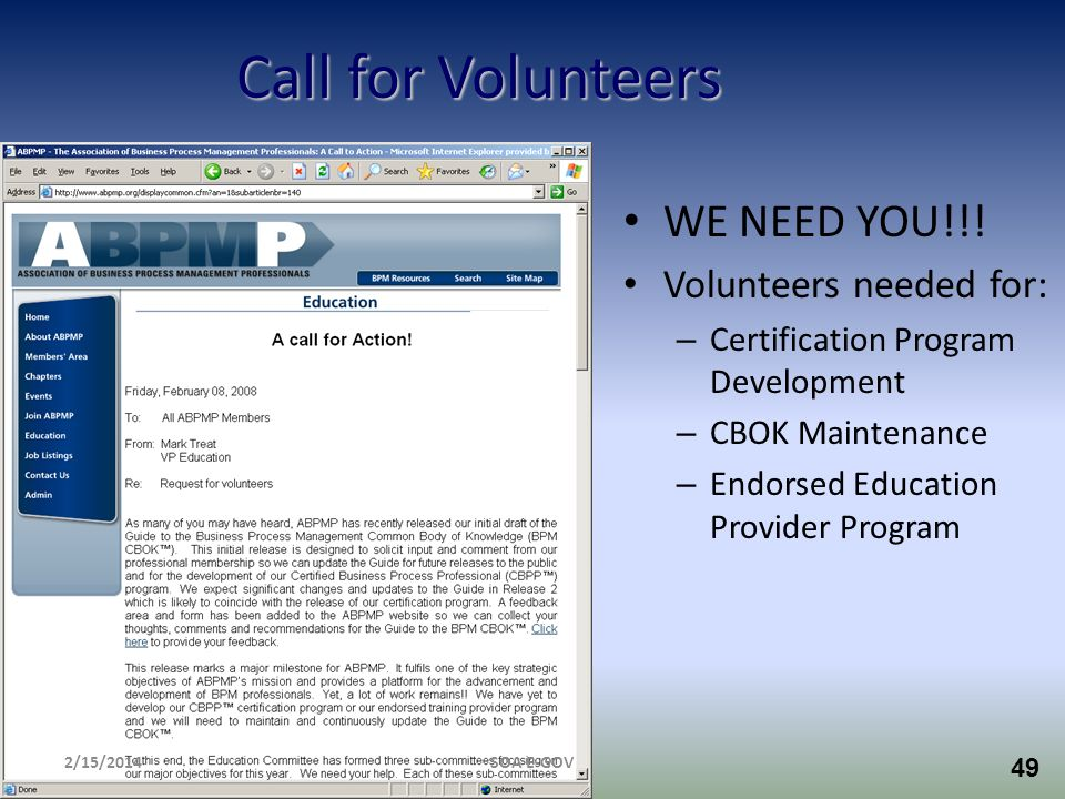 Call for Volunteers WE NEED YOU!!! Volunteers needed for: