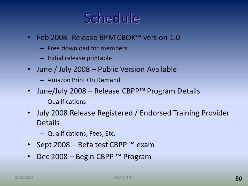Schedule Feb 2008- Release BPM CBOK™ version 1.0