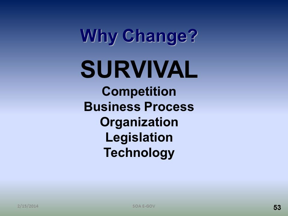 SURVIVAL Why Change Competition Business Process Organization