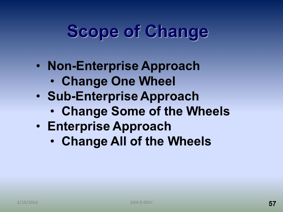Scope of Change Non-Enterprise Approach Change One Wheel