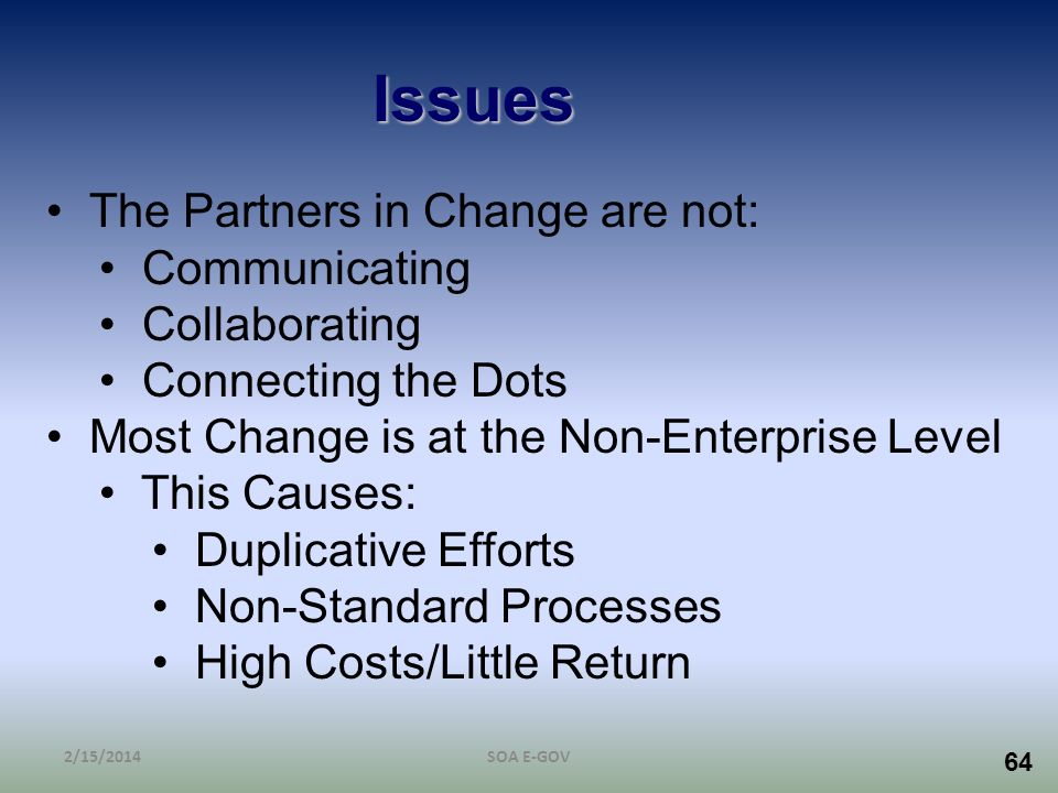 Issues The Partners in Change are not: Communicating Collaborating