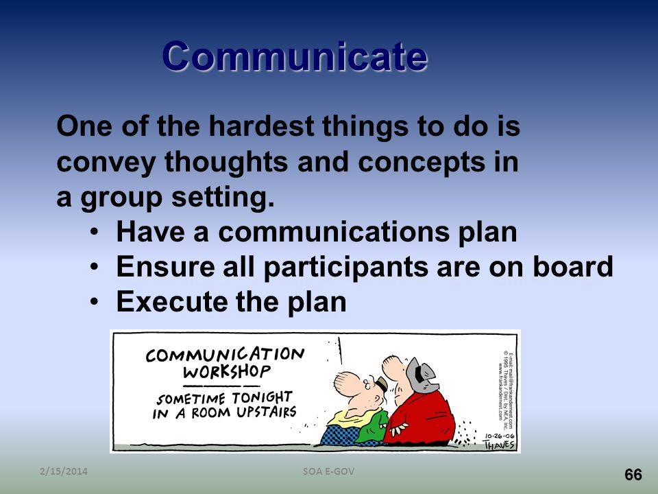 Communicate One of the hardest things to do is