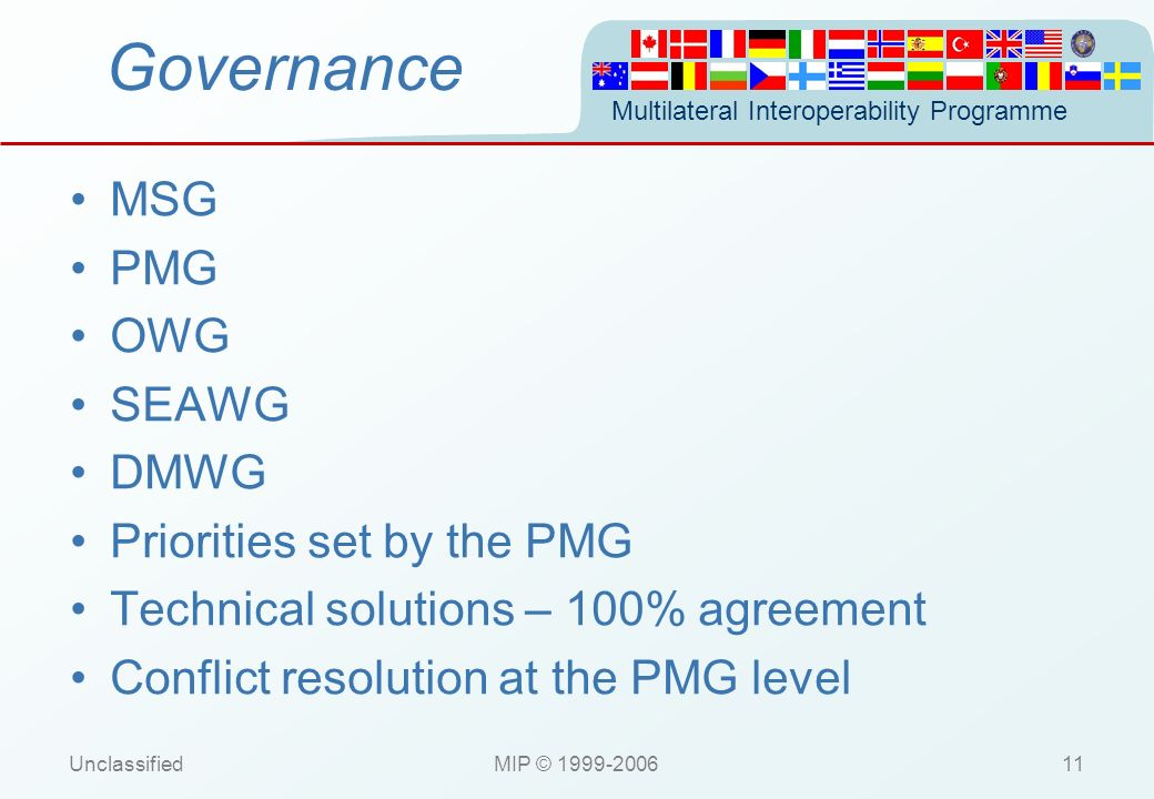 Governance MSG PMG OWG SEAWG DMWG Priorities set by the PMG